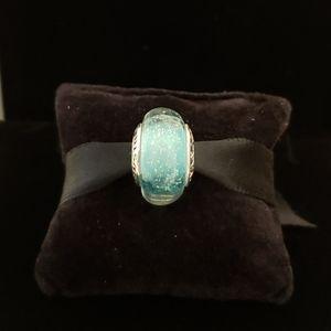Disney Ariel silver charm with green Murano glass